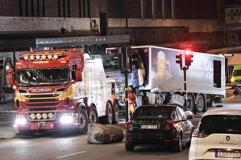 A truck ploughed into a Swedish shopping centre (TT News Agency/Press Association)