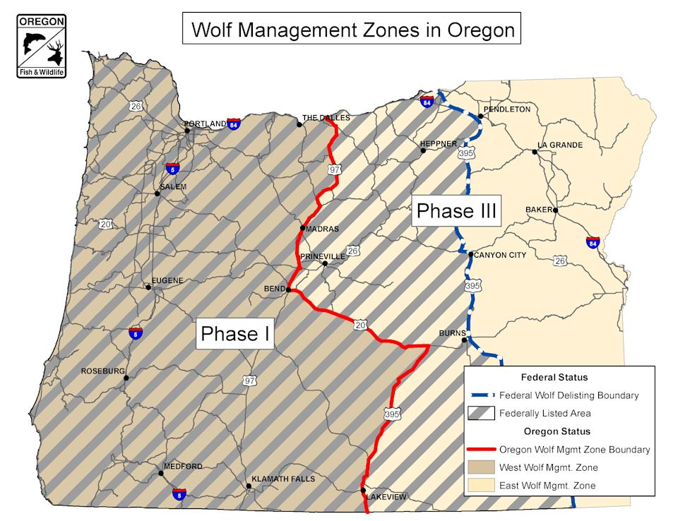 A map showing where wolves were previously protected under the federal Endangered Species Act. Those protections were removed Thursday.
