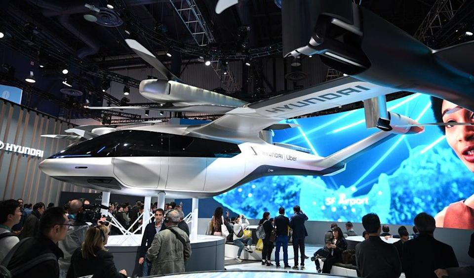 The Hyundai S-A1 electric Urban Air Mobility concept is displayed January 7, 2020 at the 2020 Consumer Electronics Show (CES) in Las Vegas, Nevada. (AFP via Getty Images)