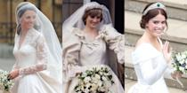 """<p><a href=""""https://www.marieclaire.com/royal-wedding-guide/"""" rel=""""nofollow noopener"""" target=""""_blank"""" data-ylk=""""slk:Royal weddings"""" class=""""link rapid-noclick-resp"""">Royal weddings</a> are never not elaborate—and expensive—affairs. And a lot of that cost on the gowns that royal brides wear down the aisle on their big days. </p><p><a href=""""https://www.marieclaire.com/culture/g14448603/royal-wedding-dresses-through-the-years/"""" rel=""""nofollow noopener"""" target=""""_blank"""" data-ylk=""""slk:Royal wedding dresses"""" class=""""link rapid-noclick-resp"""">Royal wedding dresses</a> are the subject of intense speculation leading up to their reveals and then equally intense scrutiny once they make their public debuts. They inspire imitations and outright knockoffs and the decisions royal brides make influence wedding fashion for the normal brides that follow them. Often, these gowns are elaborate, with subtle and sometimes full hidden details special to the bride and groom and, usually, they're designed by prominent figures in the fashion industry, who understandably clamour at the chance to design a real-life princess ballgown. </p><p>But just how much do these fashion masterpieces actually cost? Well, know we because <a href=""""https://www.thesun.co.uk/fabulous/13797148/six-most-expensive-royal-wedding-dresses-meghan-markle-kate-middleton/"""" rel=""""nofollow noopener"""" target=""""_blank"""" data-ylk=""""slk:The Sun"""" class=""""link rapid-noclick-resp"""">The Sun</a> crunched the numbers and came up with the six most expensive royal wedding gowns in modern history. And yes, of course the list includes some of the people you expect it to—like Princess Diana, Kate Middleton, and Meghan Markle—but it also includes a gown or two that might surprise you, or have flown under your royal wedding radar. Scroll down to count down to the most expensive modern royal wedding dress of them all. </p>"""