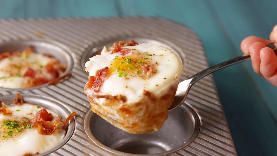 """<p>Forget putting your eggs on toast—these crispy potato cups are tastier and will keep you full all morning.</p><p><span class=""""redactor-invisible-space"""">Get the recipe from <a href=""""https://www.delish.com/cooking/recipe-ideas/recipes/a49446/hash-brown-muffin-tin-cups-recipe/"""" rel=""""nofollow noopener"""" target=""""_blank"""" data-ylk=""""slk:Delish"""" class=""""link rapid-noclick-resp"""">Delish</a>.<br></span></p>"""