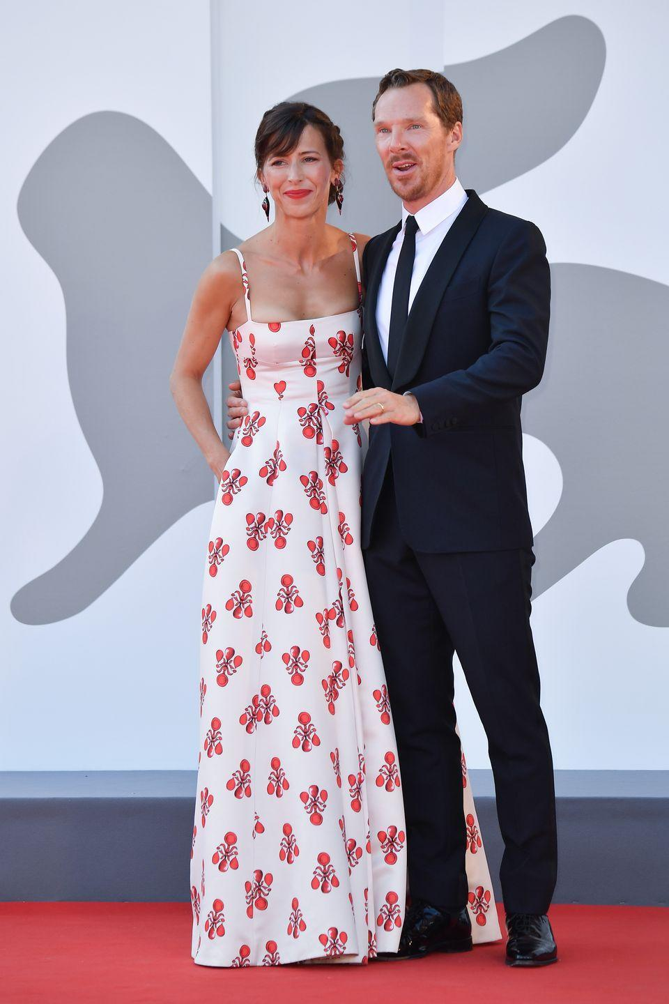 <p>Sophie Hunter wore a red and white gown as she posed with husband Benedict Cumberbatch.</p>