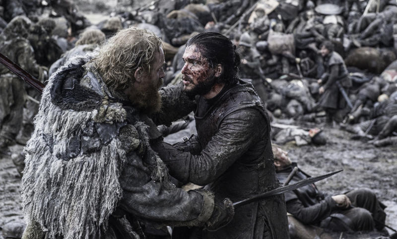 Jon Snow and Tormund in Game Of Thrones.