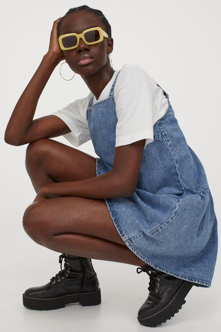<p>You can layer this cute <span>H&amp;M Denim Dress</span> ($30) with a white tee.</p>