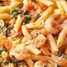 """<p>Prawns, spinach, tomatoes, garlic? Yes, this is the <a href=""""https://www.delish.com/uk/pasta-recipes/"""" rel=""""nofollow noopener"""" target=""""_blank"""" data-ylk=""""slk:pasta"""" class=""""link rapid-noclick-resp"""">pasta</a> of your dreams.</p><p>Get the P<a href=""""https://www.delish.com/uk/cooking/recipes/a32667322/tuscan-shrimp-penne-recipe/"""" rel=""""nofollow noopener"""" target=""""_blank"""" data-ylk=""""slk:armesan Prawn Pasta"""" class=""""link rapid-noclick-resp"""">armesan Prawn Pasta</a> recipe.</p>"""