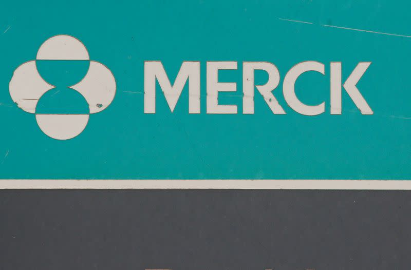 FILE PHOTO: The Merck logo is seen on a sign at the Merck & Co campus in Linden, New Jersey