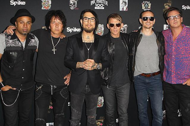 "<p>Dave Navarro, Mark McGrath, Chris Chaney, Donovan Leitch, Billy Morrison and Josh Freese of Royal Machines with special guest, Chester Bennington attend the 100th Episode Party For ""Ink Master"" at NeueHouse Hollywood on September 28, 2016 in Los Angeles, California. (Photo: Tommaso Boddi/WireImage) </p>"