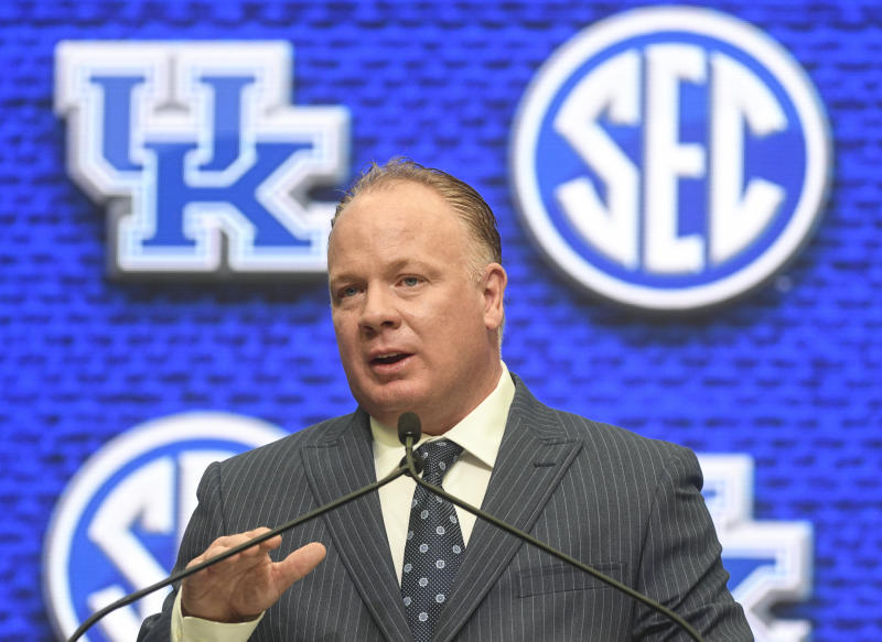 Kentucky head coach Mark Stoops speaks during NCAA college football Southeastern Conference media days at the College Football Hall of Fame in Atlanta, Monday, July 16, 2018. (AP Photo/John Amis)
