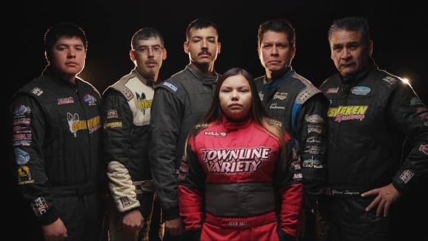 From left, Aaron Turkey, Matthew Hill, Joshua Hill, Derek Miller and Glenn Styres, with Alex Hill, front, are sprint car racers from Six Nations of the Grand River. They're part of a docuseries coming to APTN this spring called Friday Night Thunder thatfollows Indigenous sprint car drivers and their families at the Ohsweken Speedway.