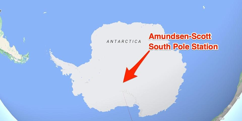 A marker shows the location of the Amudsen-Scott South Pole Station on a map from Google