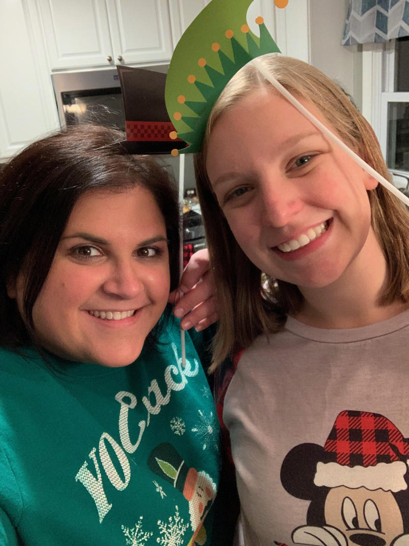 Voorhees Middle School teachers Christine Blizzard-Wrobel (right) and Tara Johnson both appear in the 'Friends' parody. (Courtesy of Christine Blizzard-Wrobel and Tara Johnson)