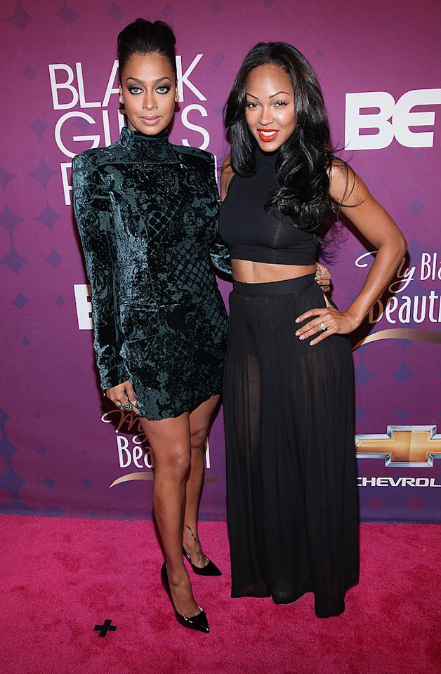"""LaLa Anthony caught up with newlywed (and belly bearer) Meagan Good on the red carpet. """"Fun times and laughs like always,"""" the star of """"LaLa's Full Court Life"""" tweeted from the show. (10/13/2012)"""