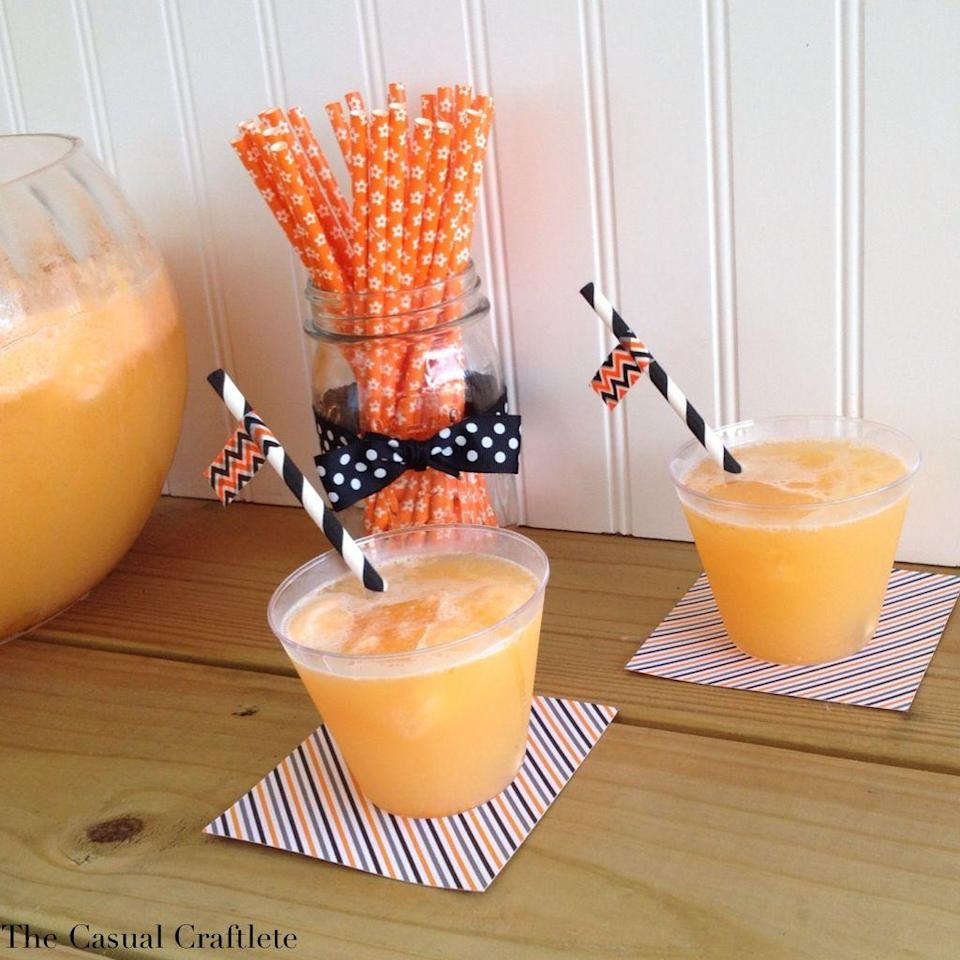 """<p>You really can't go wrong with this decadent orange sherbet punch. The night before you serve this one, freeze Kool Aid mixture ice cubes to drop in the punch for orange flavor the next day.</p><p><strong>Get the recipe at <a href=""""https://www.purelykatie.com/halloween-orange-sherbet-punch/"""" rel=""""nofollow noopener"""" target=""""_blank"""" data-ylk=""""slk:Purely Katie"""" class=""""link rapid-noclick-resp"""">Purely Katie</a>. </strong></p><p><a class=""""link rapid-noclick-resp"""" href=""""https://go.redirectingat.com?id=74968X1596630&url=https%3A%2F%2Fwww.walmart.com%2Fip%2FOneida-Stainless-Steel-Ice-Cream-Scoop%2F498475313&sref=https%3A%2F%2Fwww.thepioneerwoman.com%2Fholidays-celebrations%2Fg36792938%2Fhalloween-punch-recipes%2F"""" rel=""""nofollow noopener"""" target=""""_blank"""" data-ylk=""""slk:SHOP ICE CREAM SCOOPERS"""">SHOP ICE CREAM SCOOPERS</a></p>"""