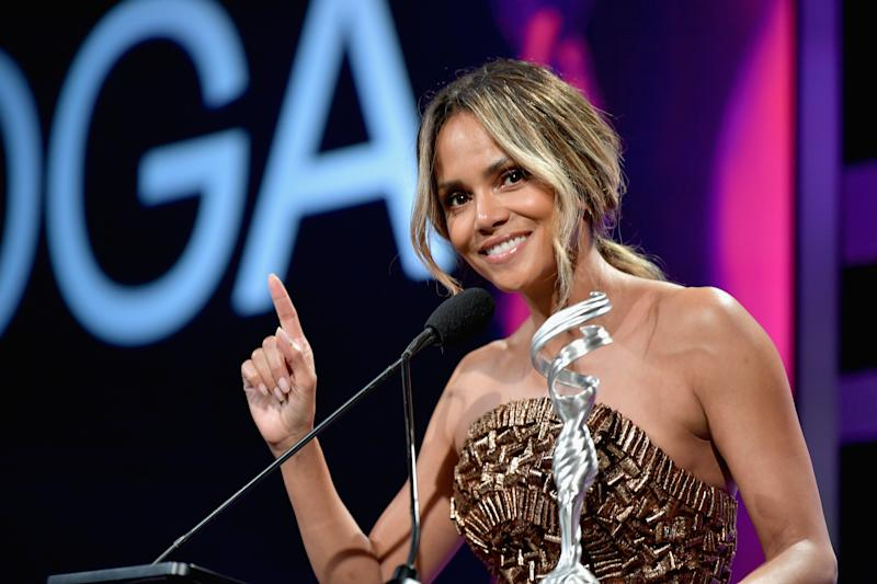 BEVERLY HILLS, CA - FEBRUARY 19: Halle Berry speaks onstage during The 21st CDGA (Costume Designers Guild Awards) at The Beverly Hilton Hotel on February 19, 2019 in Beverly Hills, California. (Photo by Amy Sussman/Getty Images for CDGA)