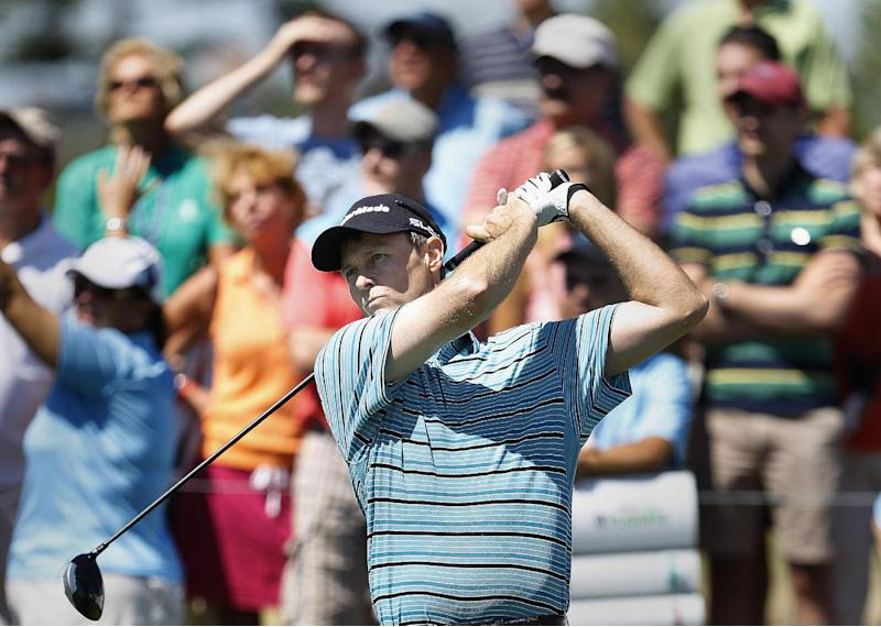 Kevin Chappell hits a tee shot on the 12th hole during the third round of The Barclays golf tournament Saturday, Aug. 24, 2013, in Jersey City, N.J. (AP Photo/John Minchillo)