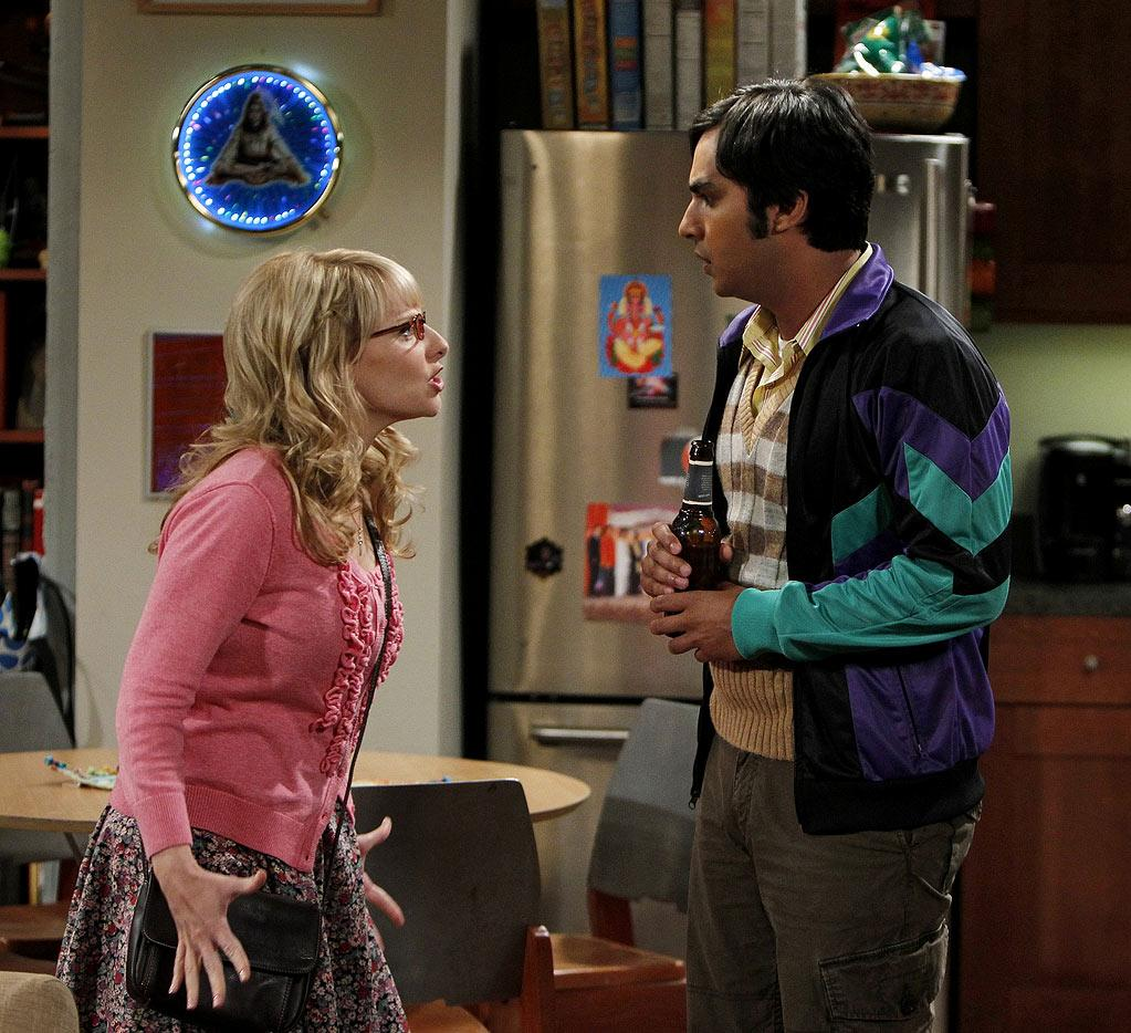 """The Skank Reflex Analysis"" -- Bernadette (Melissa Rauch, left) and the gang deal with the aftermath of Penny and Raj's (Kunal Nayyar, right) night together, while Sheldon takes command of the paintball team, on the fifth season premiere of THE BIG BANG THEORY, Thursday, Sept. 22 (8:00-8:31 PM, ET/PT) on the CBS Television Network.   Photo: Cliff Lipson/CBS ©2011 CBS Broadcasting Inc. All Rights Reserved. Big Bang Theory"