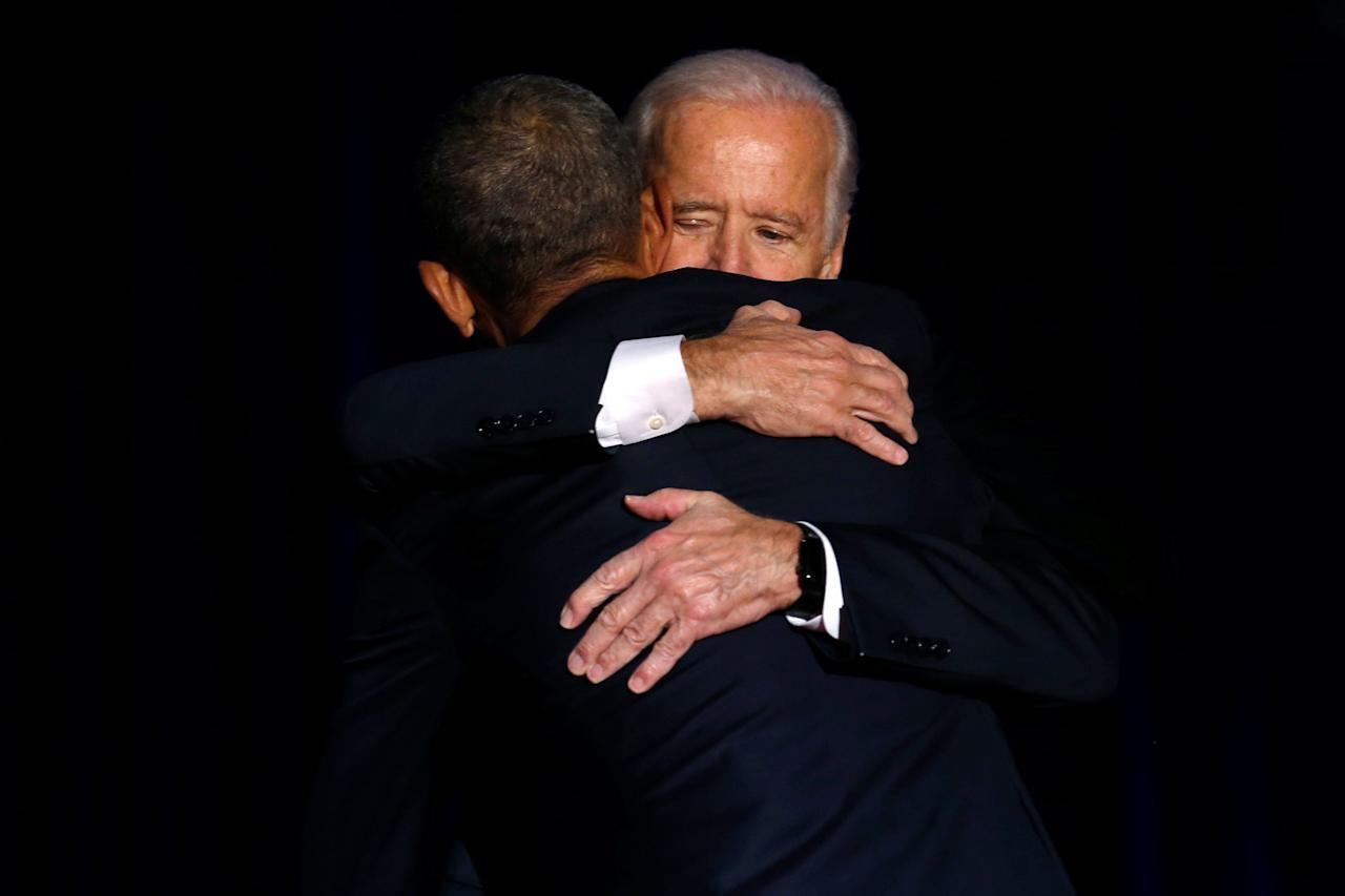 <p>President Barack Obama is joined onstage by Vice President Joe Biden after his farewell address in Chicago, Illinois, U.S. January 10, 2017. (Jonathan Ernst/Reuters) </p>