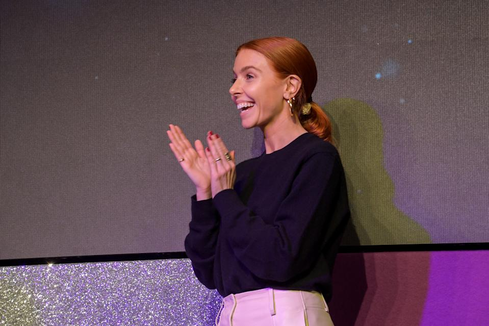 Stacey Dooley on stage at the Women in Film and TV Awards 2019 at Hilton Park Lane on December 06, 2019 in London, England. (Photo by David M. Benett/Dave Benett/Getty Images for Women in Film and TV)