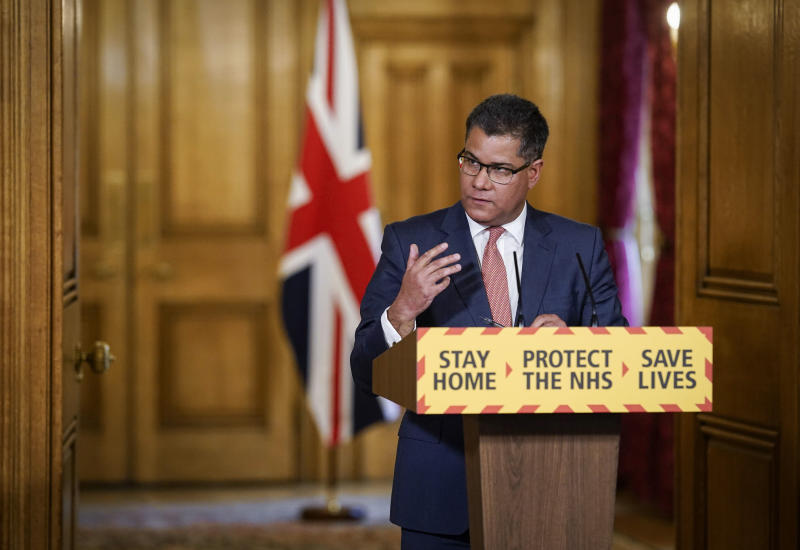 In this photo provided by 10 Downing Street, Britain's Secretary of State for Business, Energy and Industrial Strategy Alok Sharma, answers a questions during a coronavirus media briefing in Downing Street, London, Friday April 17, 2020. (Andrew Parsons/10 Downing Street via AP)