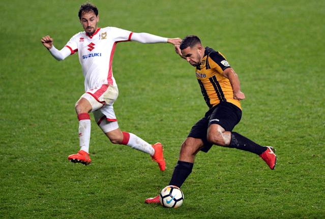 Soccer Football - FA Cup Second Round - Milton Keynes Dons vs Maidstone United - Stadium MK, Milton Keynes, Britain - December 2, 2017 Maidstone United's Jai Reason in action with MK Dons' Ed Upson Action Images/Adam Holt