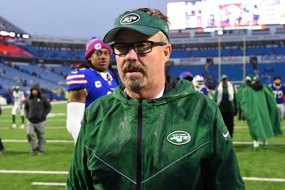 Dec 29, 2019; Orchard Park, New York, USA; New York Jets defensive coordinator Gregg Williams walks off the field following the game against the Buffalo Bills at New Era Field. Mandatory Credit: Rich Barnes-USA TODAY Sports