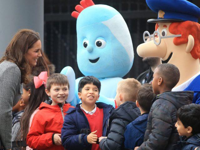 The Duchess of Cambridge greets children - as well as some famous faces
