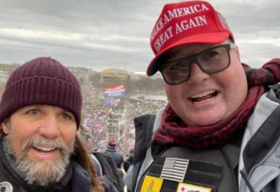 Alan Hostetter, left, and Russ Taylor, right, were among the six men indicted in connection with the Jan. 6 Capitol attack. (Photo: Twitter)