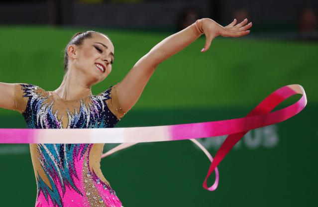 Rhythmic Gymnastics - Gold Coast 2018 Commonwealth Games - Individual Ribbon Final - Coomera Indoor Sports Centre - Gold Coast, Australia - April 13, 2018. Eleni Ellina of Cyprus. REUTERS/David Gray