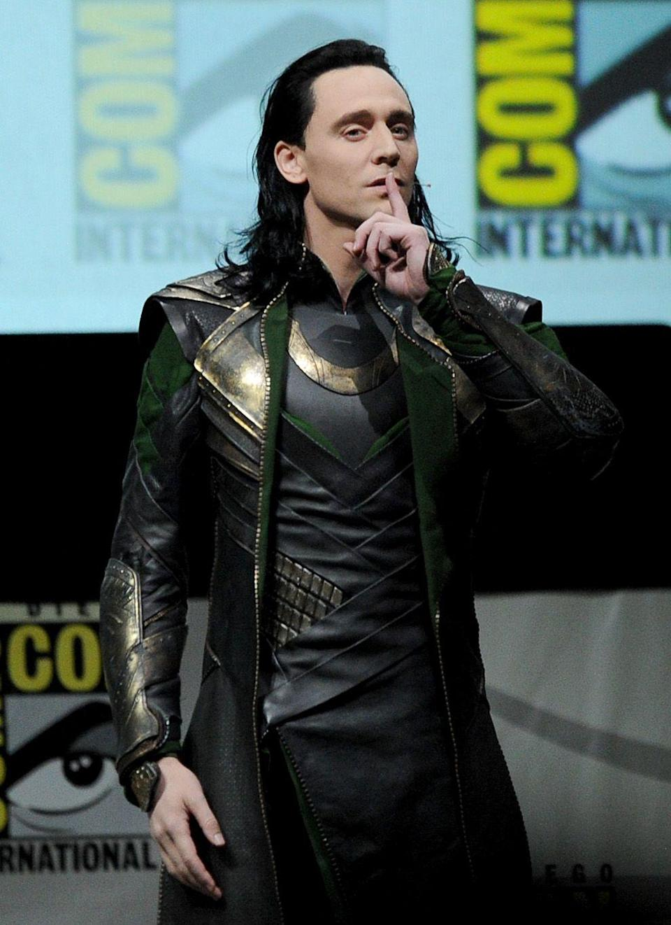 <p>It's safe to say the slicked back, black hairstyle Tom Hiddleston's dons in the <em>Thor </em>franchise isn't exactly his best look. But, fortunately, it's only a wig. </p>