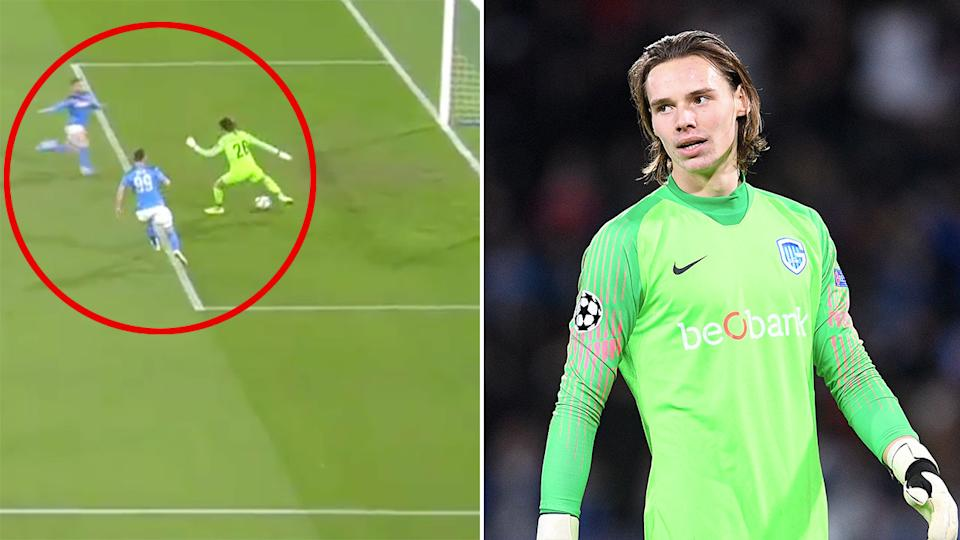 Maarten Vandevoordt made a horrible mistake after becoming the youngest keeper in Champions League history.