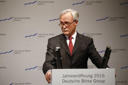 Deutsche Boerse AG Chairman of the Supervisory Board Faber  speaks during the new year's reception of Deutsche Boerse Group (German stock exchange ) at their headquarters in Eschborn