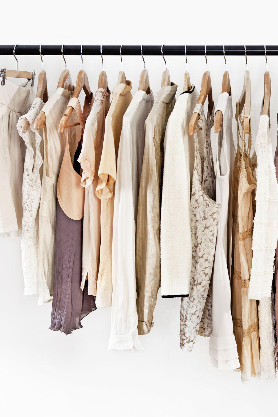 """<p>Start each season by arranging <span class=""""itxtrst itxtrsta itxthook"""">clothes</span> hangers so the hooks face out toward the room, says Kim Cosentino, owner of <a href=""""http://www.declutterbox.com/"""" rel=""""nofollow noopener"""" target=""""_blank"""" data-ylk=""""slk:De-Clutter Box, Inc"""" class=""""link rapid-noclick-resp"""">De-Clutter Box, Inc</a>. in Westmont, Illinois. When you wear something, turn the hanger the other way. At the end of the season, get rid of anything that hasn't been turned.</p><p><strong><a class=""""link rapid-noclick-resp"""" href=""""https://www.amazon.com/Home-Pack-Natural-wood-hangers/dp/B00QPFORNK/ref=sr_1_1_sspa?dchild=1&keywords=WOODEN+HANGERS&qid=1610555782&sr=8-1-spons&psc=1&spLa=ZW5jcnlwdGVkUXVhbGlmaWVyPUEyRDlMMEhSVllZWFkxJmVuY3J5cHRlZElkPUEwMDEzMDgyMlVQSUxNS0M1RUVMUSZlbmNyeXB0ZWRBZElkPUEwNjgxMjY5M1U3MTJUNkhBMjdBSiZ3aWRnZXROYW1lPXNwX2F0ZiZhY3Rpb249Y2xpY2tSZWRpcmVjdCZkb05vdExvZ0NsaWNrPXRydWU%3D&tag=syn-yahoo-20&ascsubtag=%5Bartid%7C10070.g.3310%5Bsrc%7Cyahoo-us"""" rel=""""nofollow noopener"""" target=""""_blank"""" data-ylk=""""slk:SHOP HANGERS"""">SHOP HANGERS</a></strong></p>"""