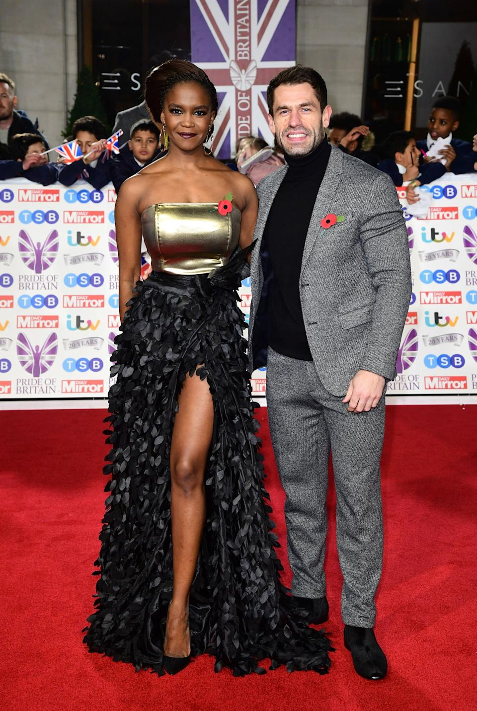 Oti put her best foot forward in a gown with a thigh-high split (PA)
