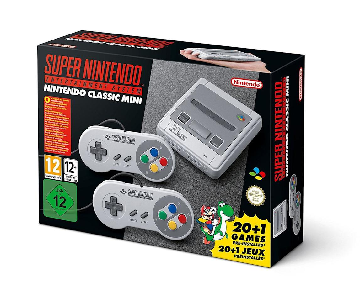 """<p><a rel=""""nofollow"""" href=""""https://www.amazon.co.uk/Nintendo-Classic-Mini-Console-Entertainment/dp/B073BVHY3F/ref=sr_1_4?s=videogames&ie=UTF8&qid=1537804890&sr=1-4&keywords=SNES+mini"""">SHOP NOW</a></p><p>Wallowing in nostalgia has never been so fun. The SNES Mini – a perfect, palm-sized recreation of Nintendo's iconic 1992 console – plays host to 20 of the greatest 16-bit games ever made, including Super Mario World, Zelda: A Link To The Past, Street Fighter II and Earthbound.<a rel=""""nofollow"""" href=""""https://www.amazon.co.uk/Nintendo-Classic-Mini-Console-Entertainment/dp/B073BVHY3F/ref=sr_1_4?s=videogames&ie=UTF8&qid=1537804890&sr=1-4&keywords=SNES+mini""""><br></a></p><p><em><a rel=""""nofollow"""" href=""""https://www.amazon.co.uk/Nintendo-Classic-Mini-Console-Entertainment/dp/B073BVHY3F/ref=sr_1_4?s=videogames&ie=UTF8&qid=1537804890&sr=1-4&keywords=SNES+mini"""">£69.52</a></em></p>"""