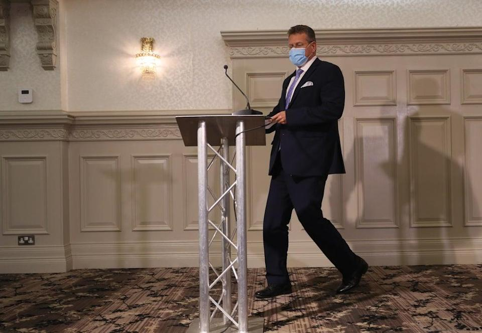 Maros Sefcovic during a press conference at the Crowne Plaza hotel in Belfast at the end of his two-day visit to Northern Ireland (Brian Lawless/PA) (PA Wire)