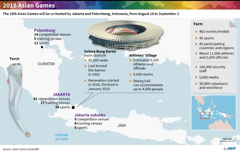 Map and factfile on the Asian Games co-hosted by Jakarta and Palembang, Aug 18-Sept 2