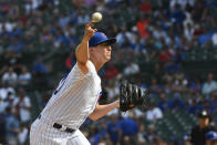 Chicago Cubs starting pitcher Alec Mills (30) delivers during the first inning of a baseball game against the St. Louis Cardinals, Friday, Sept. 20, 2019, in Chicago. (AP Photo/Matt Marton)