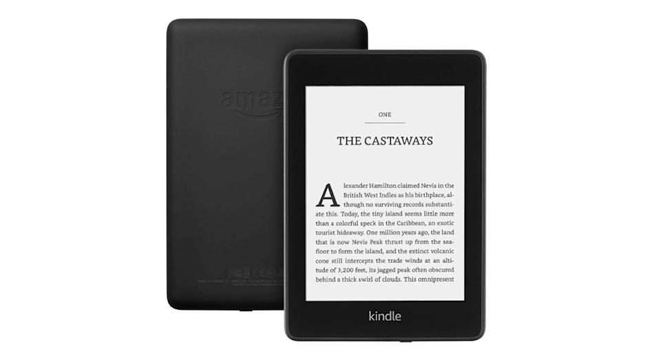 """Now built in with an adjustable front light, Amazon's latest Kindle Paperwhite is waterproof, has a 167 ppi glare-free display and the battery lasts for weeks, not hours. You can also pair with bluetooth headphones to switch between reading and listening. <a href=""""https://www.amazon.co.uk/amazon-kindle-now-with-a-built-in-front-light/dp/B07FQ473ZZ?tag=yahooukedit-21 """" rel=""""nofollow noopener"""" target=""""_blank"""" data-ylk=""""slk:Shop now"""" class=""""link rapid-noclick-resp""""><strong>Shop now</strong></a><strong>.</strong>"""