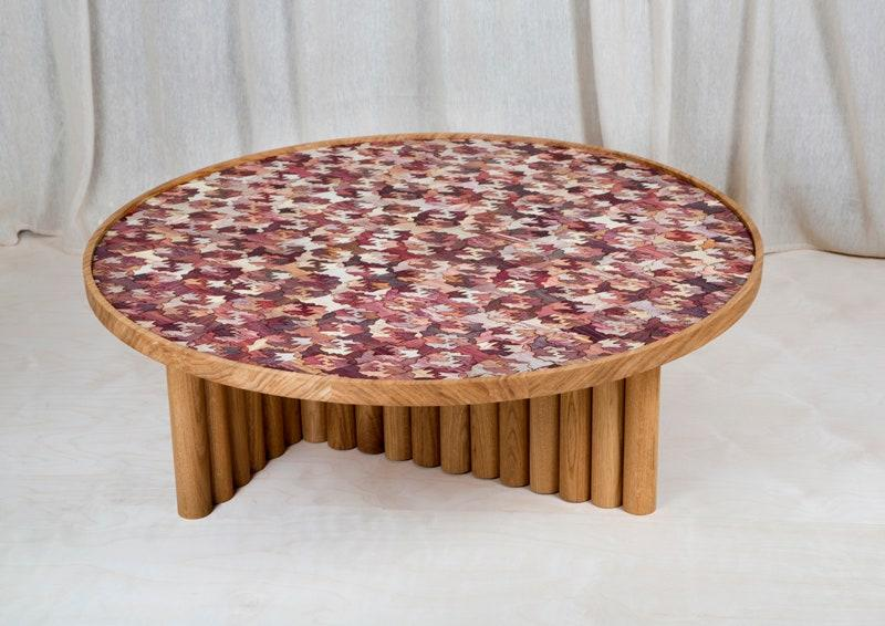 A cocktail table made using Totomoxtle, a veneer material—which is made with husks of heirloom Mexican corn—developed by Laposse and Mixtec farmers in Puebla.