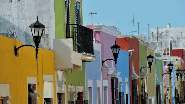 Painted houses in Campeche, Mexico