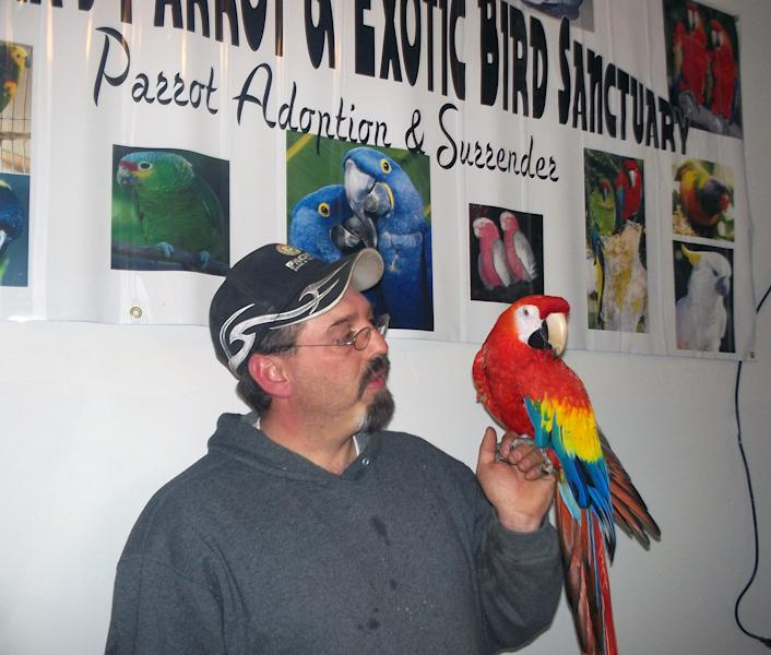 "This photo provided by Montana's Parrot & Exotic Bird Sanctuary shows Mike Taylor and his bird ""Love Love"" taken Sunday, April 21, 2013 in Butte, Mont. The Great Falls man who lost his macaw in a divorce more than five years ago has been reunited with the bird, thanks to an observant friend. (AP Photo/Montana's Parrot & Exotic Bird Sanctuary, Lori McAlexander)"