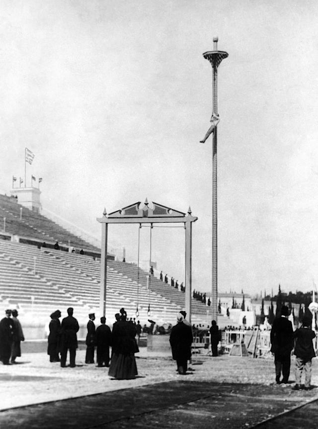 The inaugural rope climb in 1896 boasted a 49-foot scale to the top. The length was cut to 25-feet in 1900, since only two athletes reached the the goal in the previous program.