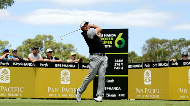 There is a familiar name at the top of the World Super 6 leaderboard after an eight-under opening round from Brett Rumford.