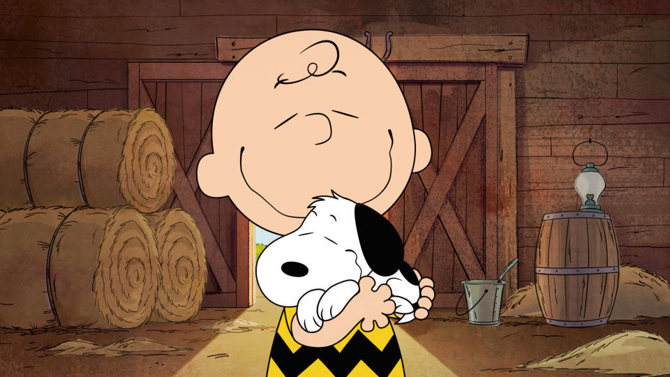"This image released by Apple shows animated characters Snoopy and Charlie Brown from the original series ""The Snoopy Show,"" premiering Feb. 5 on Apple TV+. (Apple via AP)"