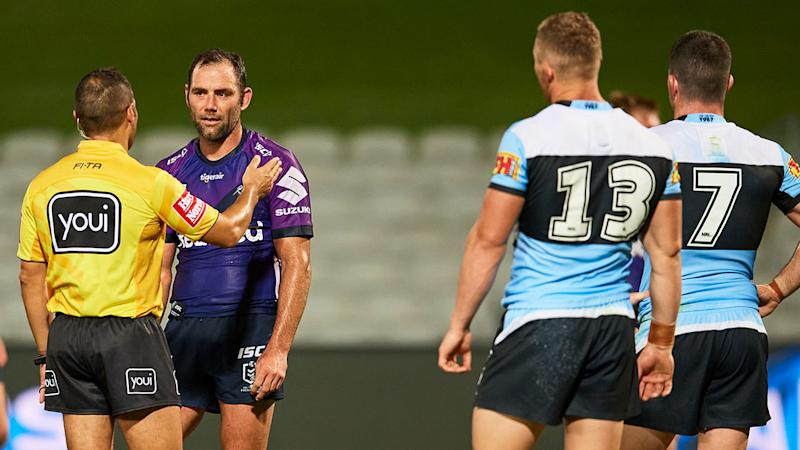 Seen here, Sharks players and Storm captain Cam Smith question the referee in their round two clash.