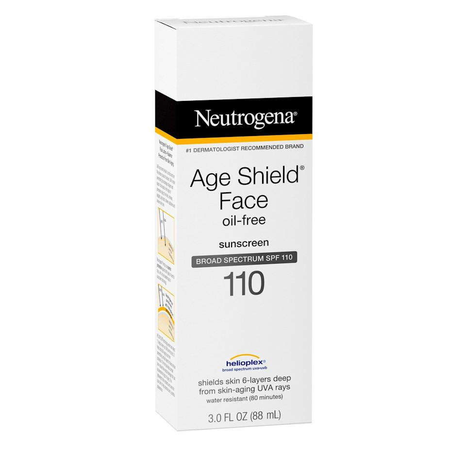<p>We know you're all too familiar with the fact that you should be wearing sunscreen every single day. <span>Age Shield® Face Oil-Free Lotion Sunscreen Broad Spectrum SPF 110</span> ($15) is one of Walmart's bestsellers, loved for its lightweight and non-greasy formula.</p>