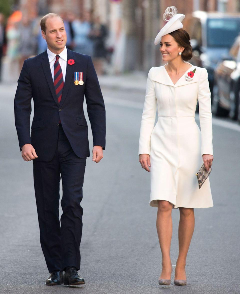 <p>In an Alexander McQueen coat dress and Gianvito Rossi pumps while out in Belgium. </p>