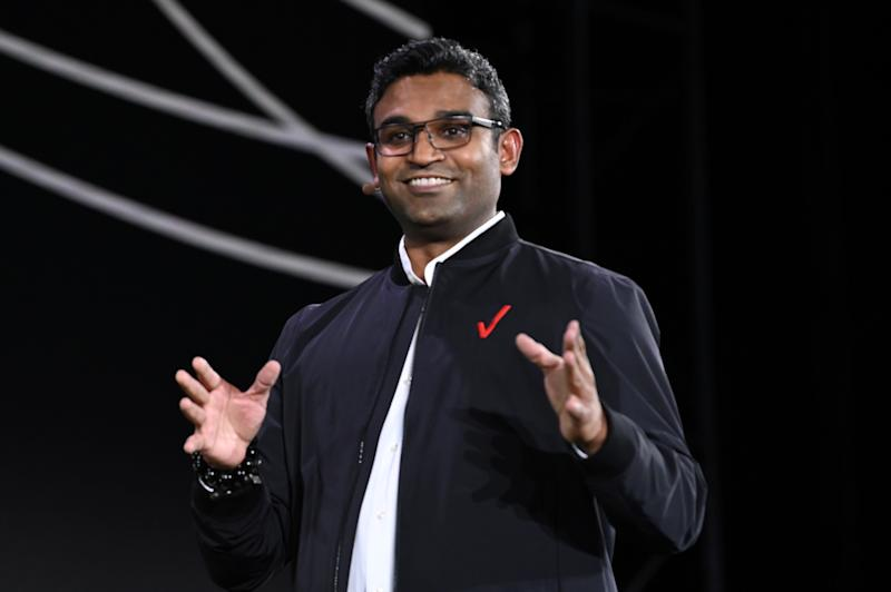 CEO at Verizon Media K. Guru Gowrappan appears on stage at the 2019 Verizon Media NewFront on April 30, 2019 in New York City. Photo: Slaven Vlasic/Getty Images for Verizon Media