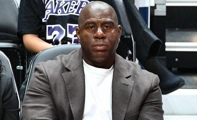 Magic Johnson has likely had it with all the tampering talk. (Getty)