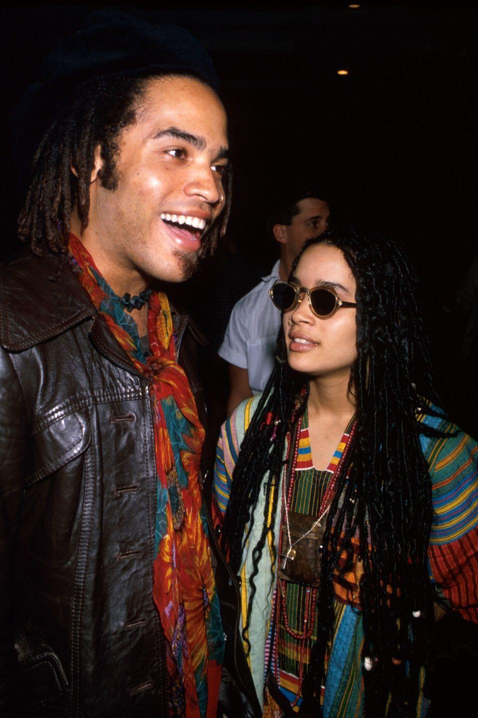 "<p>Lenny Kravitz and <em>The Cosby Show </em>actress Lisa Bonet <a href=""http://www.huffingtonpost.com/2013/06/01/lenny-kravitz-lisa-bonet-divorce_n_3368400.html"" rel=""nofollow noopener"" target=""_blank"" data-ylk=""slk:eloped"" class=""link rapid-noclick-resp"">eloped</a> in Las Vegas in 1987, on Bonet's 20th birthday. They had a daughter named Zoë in 1988 before they eventually divorced in 1993. <br></p>"